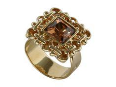 Позолоченное кольцо с кристаллами Сваровски