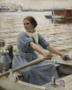 https://flic.kr/p/Gm7SGo | Albert Edelfelt - La Laitière [1889] | Painted in 1889, La laitière is breathtaking in its atmospheric evocation of archipelago life in Haiko during the Nordic summer. Situated east of Helsinki near Porvoo, this was Edelfelt's home region where he regularly returned for inspiration, keeping a summer house there long after his move to Paris. Apparently unseen in public since the Helsinki exhibition in 1892, the present work was until now known only from a…