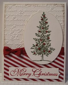 handmade Christmas card from In My Craft Room . luv the festive look with red and white stripes and deep red seam binding bow . tree stamped and then deccorated with red glitter glue dots . Stamped Christmas Cards, Beautiful Christmas Cards, Homemade Christmas Cards, Christmas Cards To Make, Xmas Cards, Homemade Cards, Holiday Cards, Stampin Up Christmas, Christmas Crafts