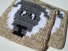 Country Sheep Potholders  Rustic Country Farm Animal by Hoooked, $16.00 Potholders, Pot Holders, Light Brown, White, Grey - Home Decor