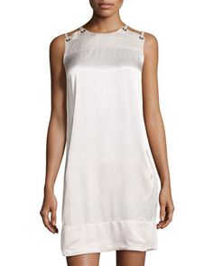 Sateen+Lace-Up+Shoulder+Dress,+Oyster+by+L.A.M.B.+at+Neiman+Marcus+Last+Call.