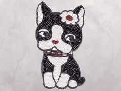 Dog boston terrier dog with bow Sequin Iron by SpecialTeeDesigns
