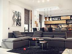természetes és szürke nyiitott konyha, nappali szoba lakberendezési ötletek, látványtervek