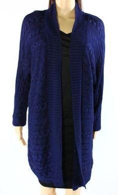 Lauren Ralph Lauren Blue Women's Size Large L Cardigan Sweater