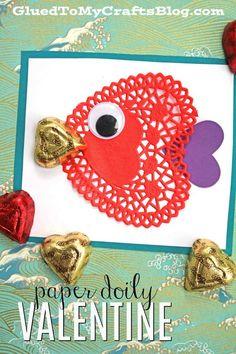 Paper Doily Heart Fish Valentines - Kid Craft #valentinesday #classroomvalentines #kidcrafts #diy #crafts #fish #gluedtomycrafts