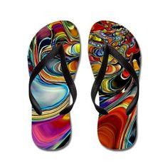 Abalone Shell Abstract Art Flip Flops