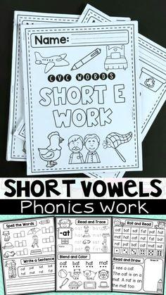 Phonics Books, Phonics Reading, Teaching Phonics, Teaching Strategies, Phonics Worksheets, Phonics Activities, Short Vowel Activities, Word Family Activities, Creative Activities
