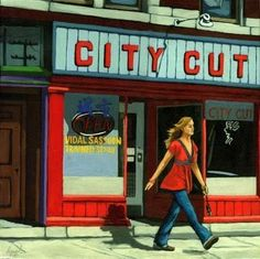 Woman in Red figurative city scene, painting by artist Linda Apple