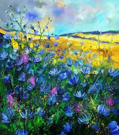Pol Ledent Blue wild chicorees print for sale. Shop for Pol Ledent Blue wild chicorees painting and frame at discount price, ships in 24 hours. Cheap price prints end soon. Kunst Online, Online Art, Art Floral, Landscape Art, Landscape Paintings, Art Paintings, Landscapes, Painting Inspiration, Flower Art