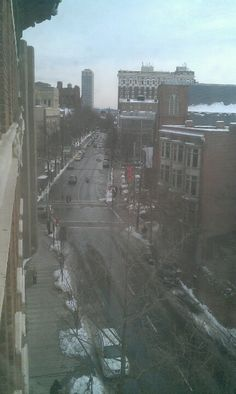 View of Chaple Street New Haven, CT from Room 500 at the Hotel Duncan.