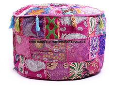 * This is a Vintage Cotton Fabric Patchwork Ottoman Cover In Round Shape…….. , *Pouf Cover has Pink with Multi Color Patchwork Pattern……. ,. ,* insert is not included. .. * Pouf Cover has a Zipper Closure on Bottom side .. *Vibrant and colorful handmade ottoman pouf cover... see more details at https://bestselleroutlets.com/home-kitchen/furniture/nursery-furniture/product-review-for-indian-traditional-home-decorative-ottoman-handmade-poufindian-comfort