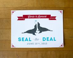 Save the Date Wedding Invitation  Seal the Deal animals by 26Sorts, $108.00