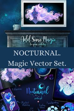 Use this magical vector set to make incredible design projects like textile prints, stickers, postcards, gift wrap, packaging, website backgrounds, wallpapers and more!  Nocturnal   Magic   New Age   Magical Designs   Moon Magic   Witchy Patterns Galaxy Background, Moon Magic, Textile Prints, Cosmic, Design Projects, Postcards, Astrology, How To Draw Hands, Backgrounds