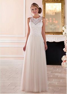 Attractive Tulle Illusion Jewel Neckline Full Length A-Line Wedding Dresses With Beaded Embroidery