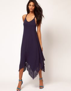 Midi Dress With Crochet Dipped Hem.  I love everything about this dress.
