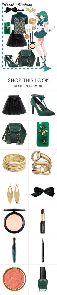 """""""Sailor Neptune-Inspired"""" by miss-belle-sutcliff ❤ liked on Polyvore featuring Little Wardrobe London, Karen Millen, Nine West, See by Chloé, Dolce&Gabbana, Nanette Lepore, Gucci, Kenneth Jay Lane, Chanel and MAC Cosmetics"""
