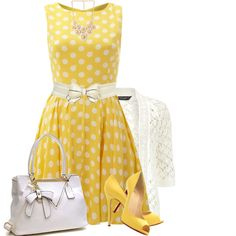Yellow Dress by daiscat on Polyvore featuring AX Paris, Dorothy Perkins, Forever 21 and Christian Louboutin