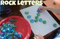 Preschool Activity Ideas: Learning Letters Using Rocks Preschool Letters, Learning Letters, Kindergarten Literacy, Early Literacy, Preschool Learning, Early Learning, Preschool Activities, Kids Learning, Alphabet Activities