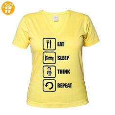 Sherlock Holmes Inspired Eat Sleep Think Repeat Women's V-Neck T-Shirt XX-Large (*Partner-Link)