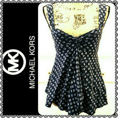 Michael Kors Sleeveless Top MK Signature Brand, Comfy Cotton Top in Dark Navy Shade, Mint Condition Michael Kors Tops