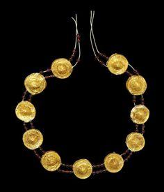 Roman Gold Leaf and Garnet Necklace 1st century BC-1st century AD.