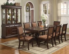 10 Piece Bordeaux Formal Dining Room: Table 8 Chairs Buffet w/China Hutch NEW Large Dining Room Table, Formal Dining Tables, Dining Room Furniture Sets, Coaster Fine Furniture, Royal Furniture, Dining Room Sets, Dining Room Design, Dining Room Chairs, Side Chairs