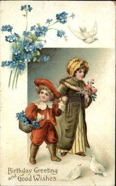 CLAPSADDLE Children Flowers Roses Doves Embossed Birthday c1910 Postcard
