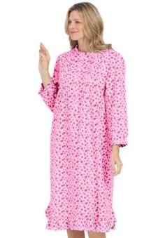 Dreams And Company Plus Size Cotton Flannel Print Short Gown (Pink Floral,M) DREAMS. $19.99