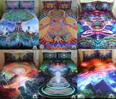 I can't get over how incredible these are. MindCradle has visionary, psychedelic bedding to make your room a haven for meditation. I want this!