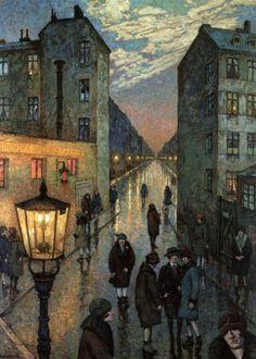 Hans Baluschek:  Großstadtwinkel (Der Dirnenwinkel) / City corner (The prostitutes corner) 1929