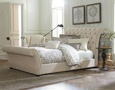 Bedroom. Cool White Waverly Tufted Leather King Sleigh Bed Featuring Scroll Button Upholstered Headboard And Scroll Footboard Completed With Comforter And Lots Of Cushions In Stylish Bedroom Interior Ideas. Creating Classy Bedroom Design Using Tufted Leather Sleigh Bed Style
