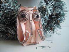 Pastel Pink  Zipper Statement Owl Brooch Handsewn by handcraftusa