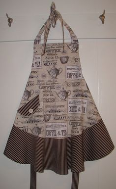 Women's apron, Coffee and Tea theme with contrasting flounce and pocket.