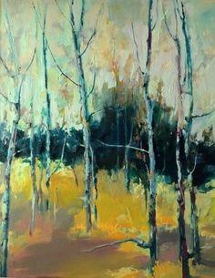"Springtime Aspens-Landscape by Joan Fullerton Oil ~ 30"" x 24"""