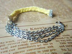 Pulseira entrançada (terminal apertar) e 4 correntes (fecho mosquetão)   - Leather Suede Braided Woven Chain Bracelet