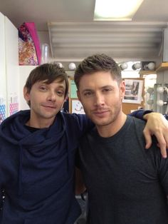 """This is how small my head is next to Jensen's. He's pretty, though."" - DJ Qualls on Twitter GARTH EVERYBODY"
