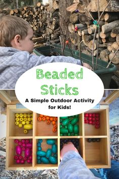 Work on fine motor skills, color recognition, patterns, and so much more with this fun outdoor activity for kids! The set up is super simple and activity is always a hit with my boys. Childcare Activities, Nature Activities, Outdoor Activities For Kids, Outdoor Learning, Spring Activities, Color Activities, Infant Activities, Kids Learning, Wooden Tea Box