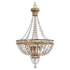 Cast a regal glow over dinner parties and soirees with this stunning chandelier, showcasing a timeless basket silhouette highlighted by elegant cascades of f...