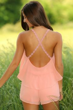 "The ""It"" Girl Romper-Peach"