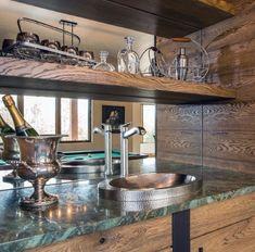 Top 70 Best Home Wet Bar Ideas - Cool Entertaining Space Designs Wet Bar Designs, Home Bar Designs, Home Wet Bar, Bars For Home, Wet Bar Sink, Green Countertops, Home Bar Rooms, Home Theater Room Design, Luxury Bar