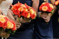A contrasting color against a bridesmaids dress has a dramatic look. Paul Webster photography
