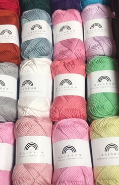 We are excited to present the heavier version of our bestselling cotton yarn Rainbow Cotton . Rainbow Cotton is an 8 ply DK weight whereas the classic version is 4 ply fingering weight. Loom Knitting Patterns, Free Knitting, Knitting Projects, Crochet Projects, Crochet Patterns, Knitting Ideas, Crochet Dishcloths, Crochet Yarn, Crochet Stitches