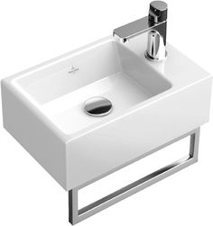 Käsienpesuallas voidaan varustaa hyödyllisellä, altaan etuosaan kiinnitettävällä pyyhetelineellä