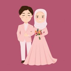 Discover thousands of Premium vectors available in AI and EPS formats Bride And Groom Cartoon, Wedding Couple Cartoon, Dress Illustration, Wedding Illustration, Illustration Pictures, Cute Muslim Couples, Cute Couples, Javanese Wedding, Wedding Caricature