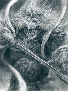 Art by Tianhua Xu* Angel Warrior, Fantasy Warrior, Warrior King, Character Art, Character Design, Character Inspiration, Lion Wallpaper, Lion Art, Lion Tattoo