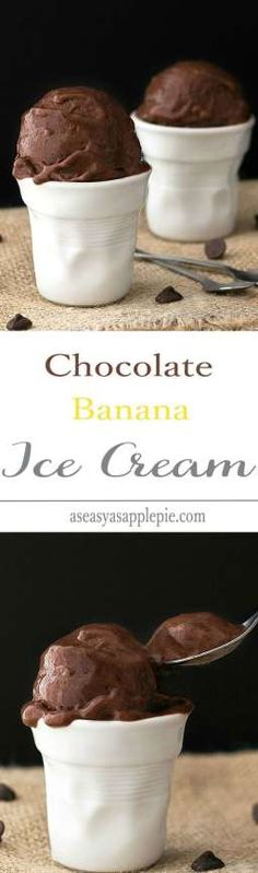 Paleo Chocolate Banana Ice Cream - just two ingredients and a blender needed to make this healthy, creamy treat. No cream, no milk, no refined sugar! A vegan, vegetarian and paleo soft serve dessert! Paleo Dessert, Healthy Desserts, Dessert Recipes, Frozen Desserts, Frozen Treats, Frozen Banana Recipes, Gelato, Chocolate Banana Ice Cream, Paleo Chocolate