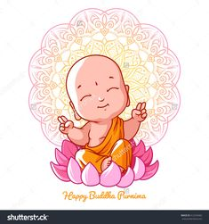 Little Meditating Buddha On The Lotus. Cartoon Character. Vector Cartoon Illustration On A White Background. - 412243465 : Shutterstock