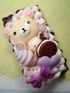 I love Lilac Rilakkuma Kawaii Decoden Case for by Lucifurious, $45.00