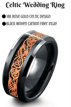 Mens celtic wedding band crafted out of the finest tungsten carbide and designed with a rose gold celtic inlay resting on top of a black woven carbon fiber. This ring has been designed with high polis