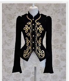 Women black golden embroidery button slim tight woolen coats vintage jackets 2015 winter new fashion outerwear Beauty And Fashion, New Fashion, Womens Fashion, Style Fashion, Military Style Jackets, Military Jacket, Mode Vintage, Trends 2018, Steampunk Fashion